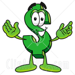 Clip Art Graphic of a Green American Dollar Bill Cartoon Charact